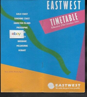 Eastwest Airlines Australia System Timetable 10-27-19 Ba 146-300 Jets Route Map