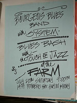 Bourgeois Blues Band System Blues Bash Touch of Jazz Promo Flyer The Farm SF1985