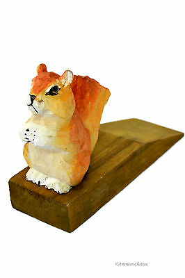 Hand Carved Painted Vintage Wood Squirrel Door Wedge Stop Stopper Cottage Decor
