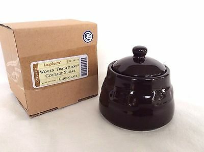 CHOCOLATE Brown Cottage Sugar Bowl with Lid Longaberger new