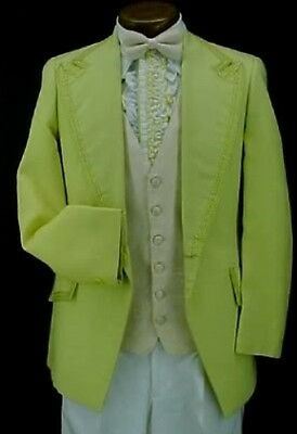 VINTAGE AFTER SIX YELLOW & BRAID MENS TUXEDO JACKET or 4pc TUX RETRO PROM