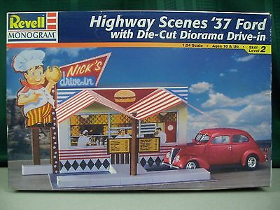 Revell Highway Scenes '37 Ford & Drive-in Toy Plastic Model Collectible 1:24