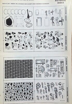 Clipper Creative Art Service Lot of 88 Lg Format Pictorial Index Pages 1969-1972