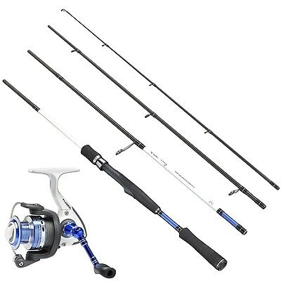 WARBIRD 4 Piece Travel Spinning  Rod & White water 6bb Reel Combo with Line