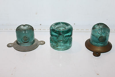 Vintage Lot 3 Lightning Rod Insulators Groove Threadless Aqua Rare Antique
