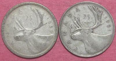 Canada 25 Cents (X's 2) 1950 & 1951  Br1357