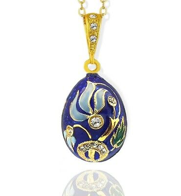 Sterling Silver 925 Gold Plate Russian Egg Pendant Flower Blue 1 Inch