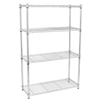 "4 Tier 56x36x14"" Shelf Shelving Rack Metal Adjustable Unit Garage Storage Chrome"