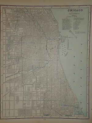 Vintage 1891 Chicago Map ~ Old Antique Atlas Map Free S&h 1891/032717