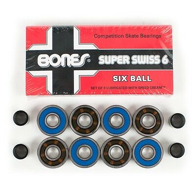Bones Bearings Super Swiss 6 Ball New FREE POST
