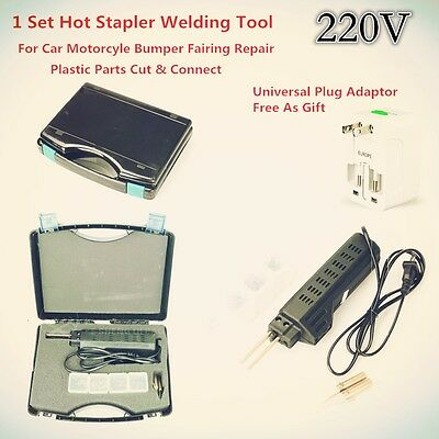 AC220V Hot Plastic Stapler Bumper Fairing Weld Gun Tool Kit Staples For Car Moto