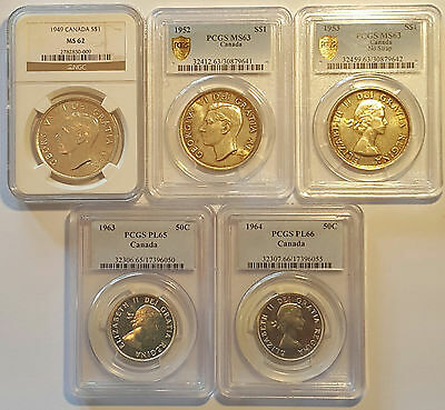 CANADA / Lot of 5 Slabbed Coins by NGC & PCGS  !!