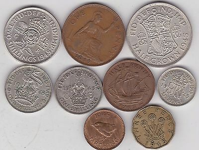 1945 George Vi Set Of 9 Coins In Very Fine Or Better Condition