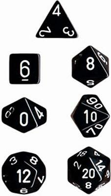 Set 7 dadi CHESSEX Opaque Black w/White Opaco Nero Bianco 25408 Dice CHX