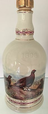 WADE PORCELAIN FAMOUS GROUSE WHISKEY DECANTER 70cl GILDED 24 CARAT GOLD STOPPER
