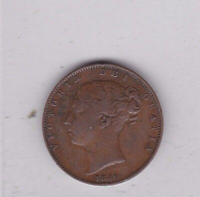 Key Date 1849 Victorian Copper Farthing In Good Fine Condition