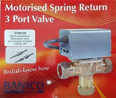 Banico 28mm 3 Port Mid Position Motorised Valve Replaces Honeywell V4073A1088 ZV