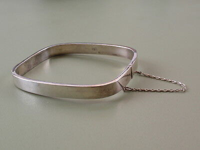 Vintage Italian Solid Silver Sterling 925 Safety Chain Band Bracelet Bangle