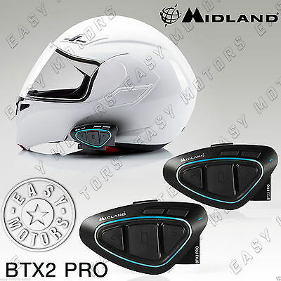 Coppia Interphone Interfoni Midland Btx2 Fm Bluetooth Casco Caschi Scooter Moto