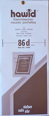 HAWID STAMP MOUNTS 86mm BLACK Pack of 10 Strips 210mm x 86mm - Ref. No. 1086