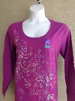79a74ad1618 NWT JUST My Size L S Scoop Neck Glitzy Graphic Twofer Tee Top Blue ...