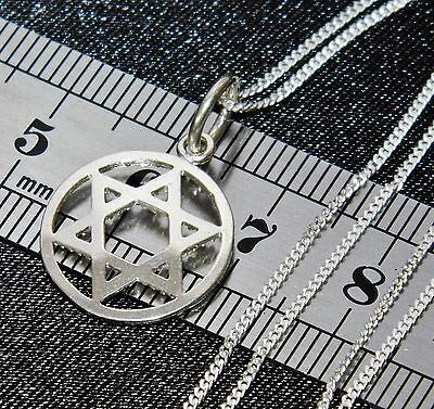 Solid Sterling Silver (925) Star of David Pendant & 18 inch Chain