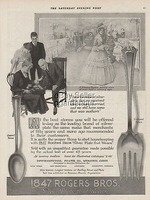 1915 Rogers Bros 1847 Cromwell~Continental Pattern Silverware Flatware Boston Ad
