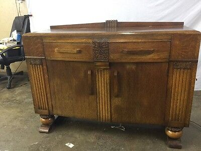 Antique English Art Deco Sideboard Buffet With Great Carving Golden Oak