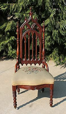 Gothic Victorian Walnut Desk Vanity Side Chair with Needlepoint Seat c1870