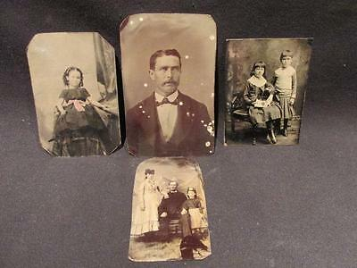 Tintypes Group 4 Antique Photos Man, Family, Children, Girl with colorized bow