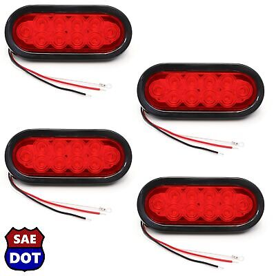 "4 Trailer Truck Lights LED Sealed RED 6"" Oval Stop Turn Tail Marine Waterproof"