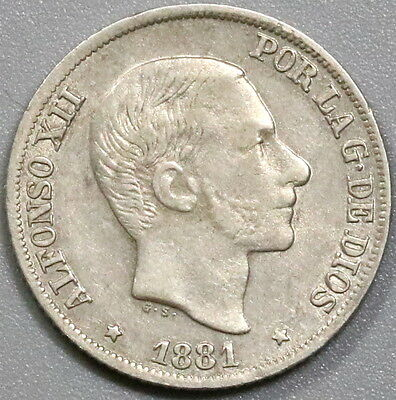 1881 PHILIPPINES Silver 10 Centimos Spain Colony Coin (17040316R)