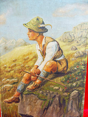 Pretty, old painting __ TYROL HIKING BOY __ Signed