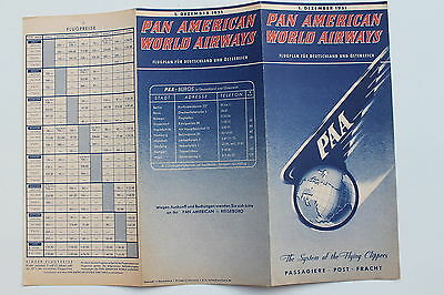 20928 PAN AMERICAN WORLD AIRWAYS PAA Flugplan Time Table Deut. Austria 1.12.1951