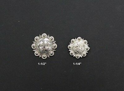 Shiny Silver Engraved Berry Conchos with Screw Back