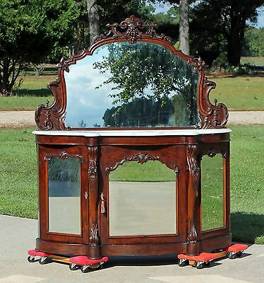 Fabulous Victorian Rosewood Marble Top Foyer Table Credenza with Mirrors c1860