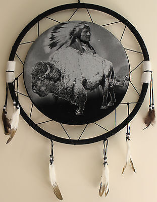 "Quality LARGE 20"" Dream Catcher Mandella White Buffalo Chief Feathers"