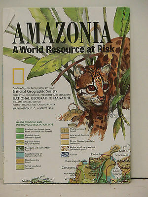 Vintage 1992 National Geographic Poster & Map of Amazonia
