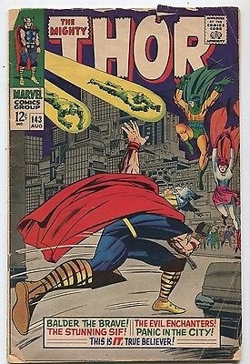 The Mighty Thor #143 VG- Balder The Brave, The Evil Enchanters   Marvel  SA