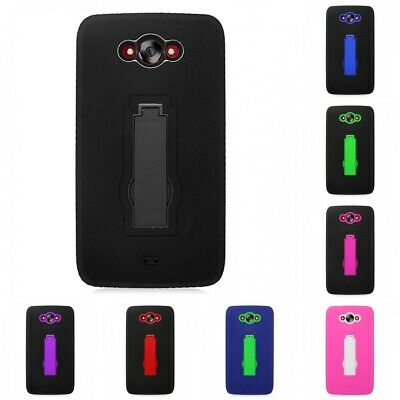 For Motorola Droid Turbo Case DEFENDER Armor Hard Soft Dual Layer Cover Stand