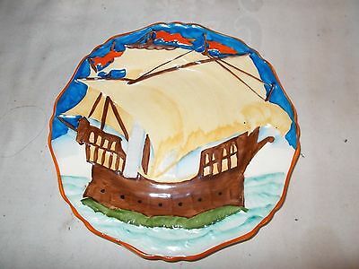 2 Ivory Ware Hancock's Hand Painted Ship Boat Plate 8""