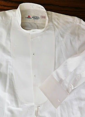Vintage white dress shirt size 15 Stephens Bros tunic evening formal starched