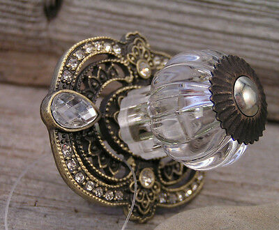 New Classy Victorian Palace Glass Rhinestone Metal Drawer  Pull knob handle