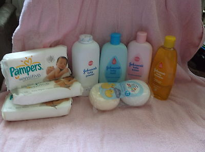*SALE* JOHNSONS & PAMPERS  LARGE PACK (8 items) MIXED  BABY GIFT SET