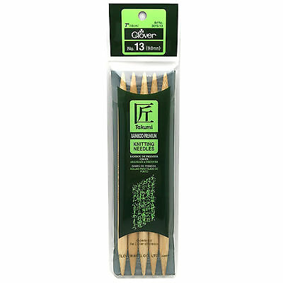 """Clover Takumi Bamboo Double Point 7"""" (18cm), Size 13, 5-Pack Knitting Needles"""