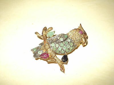 Vintage BROOCH BIRD*SILVER Gold P.*NATURAL DIAMOND-EMERALD-RUBY-BLUE SAPHIRE