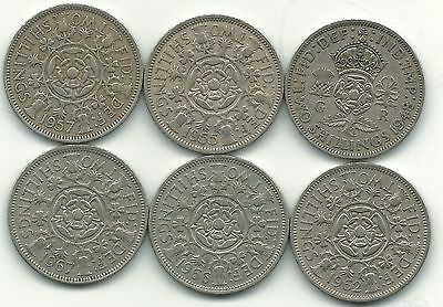 Nice Lot 6 Great Britain 2 Shilling Coins-1948,1955,1957,1962,1966,1967-Apr681