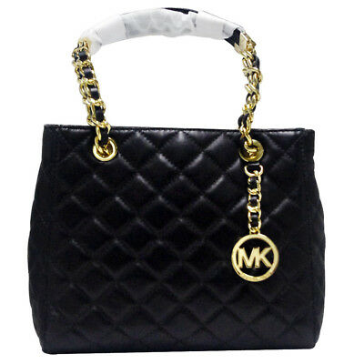 New Genuine Michael Kors Susannah North South Leather Tote Bag - Black Quilted