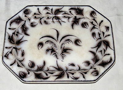 "Antique 13.1/2"" x 10"" Oval Stoneware Platter ""brought from Germany in 1800"""