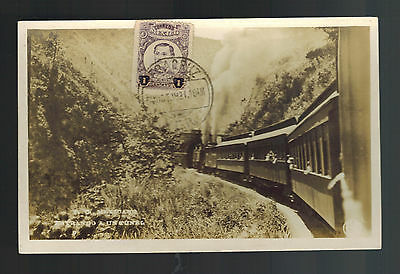 1921 Veracruz Mexico RPPC Postcard Cover Railway Train Crossing Bridge
